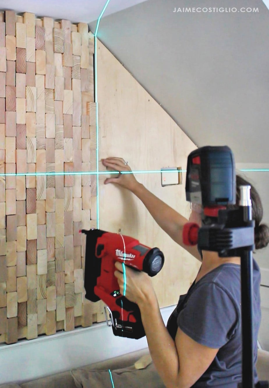attaching wood slices to wall