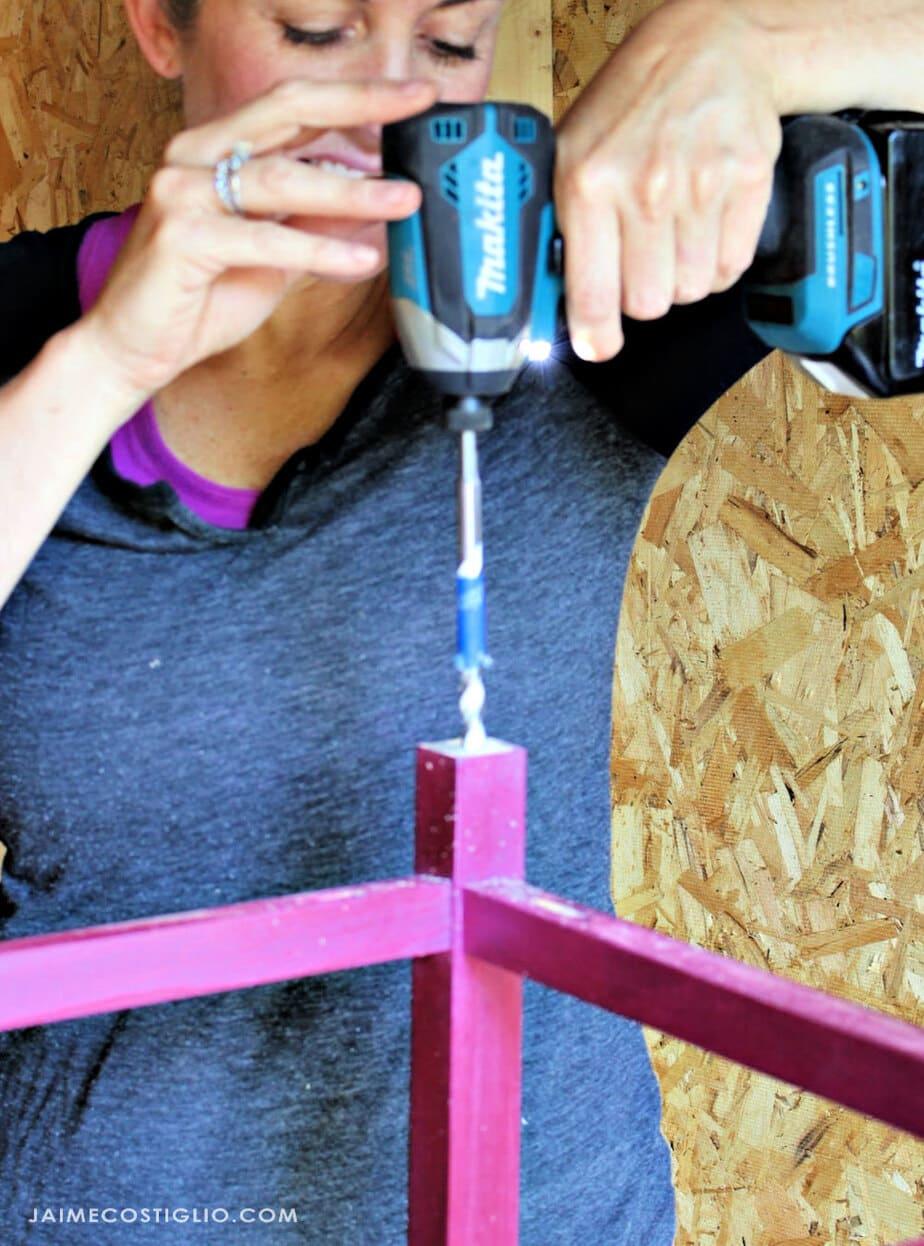 bosch multi purpose bits drilling into side table leg