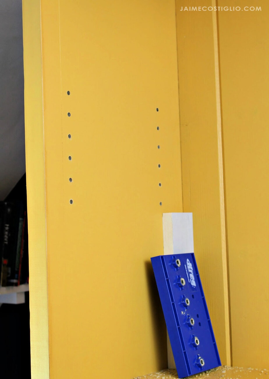 shelf pin holes in bookshelf