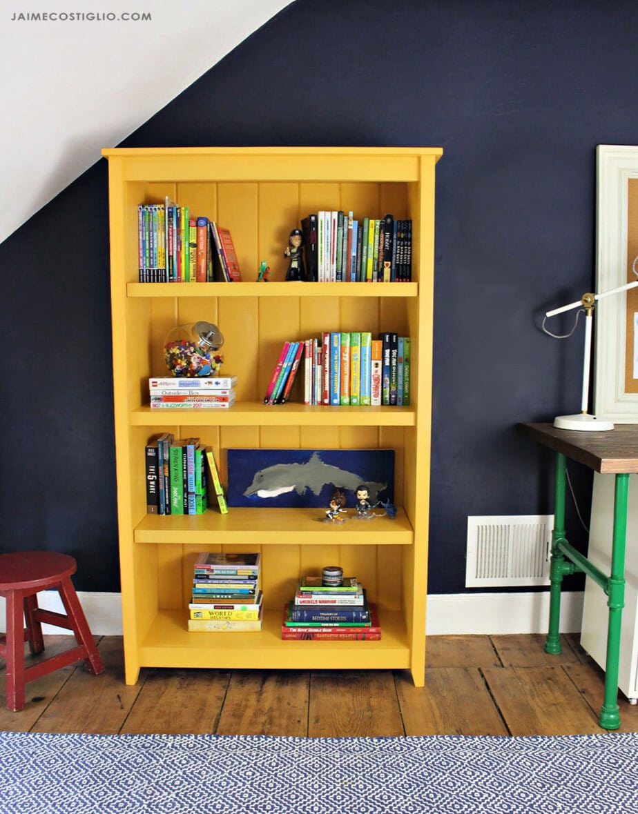 bookshelf with tongue and groove backing