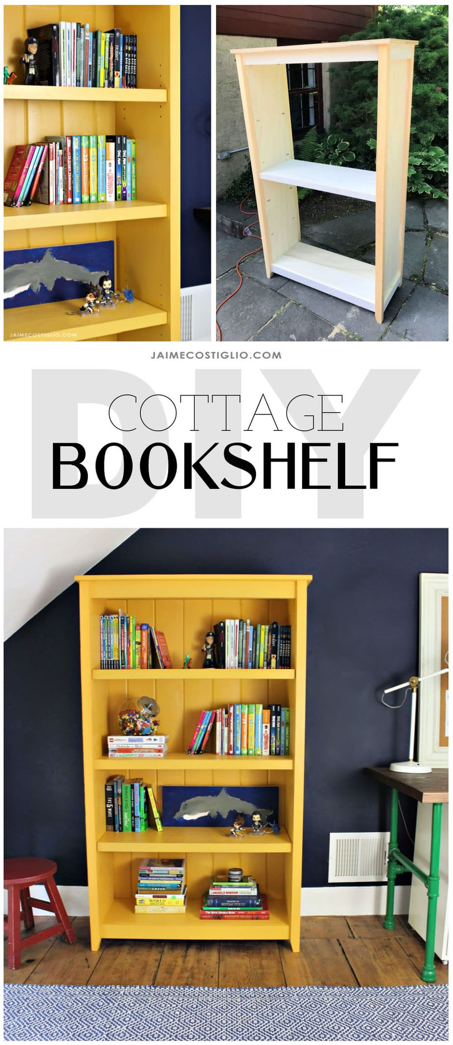 cottage bookshelf diy