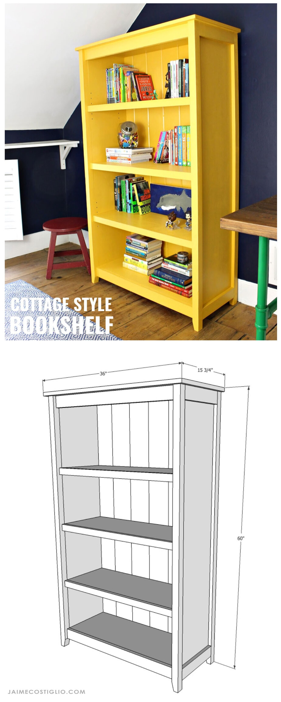 diy cottage style bookshelf free plans