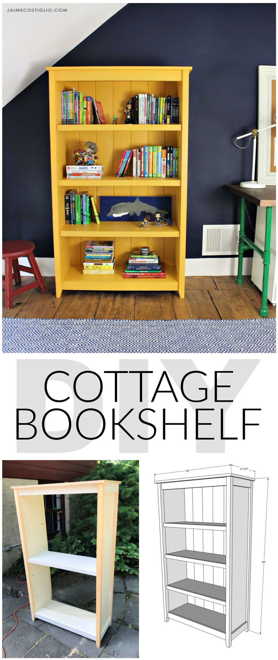 diy cottage bookshelf plans