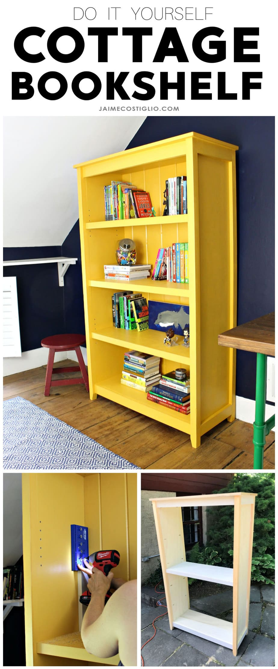do it yourself cottage bookshelf