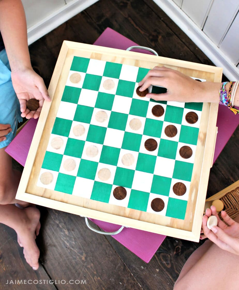 metallic painted checkerboard game