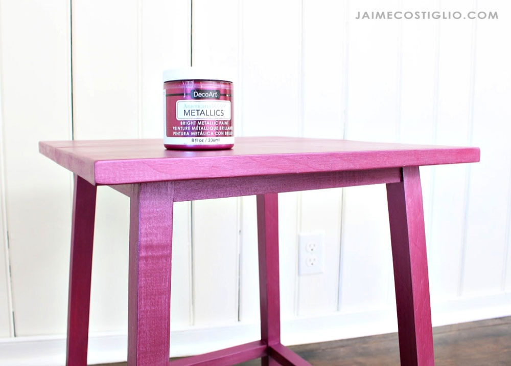 decoart metallics berry on wood side table
