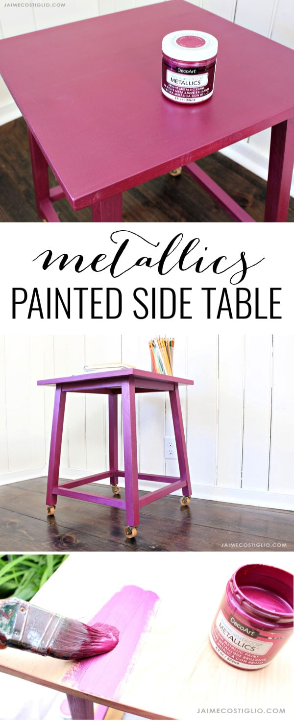 decoart metallics painted side table