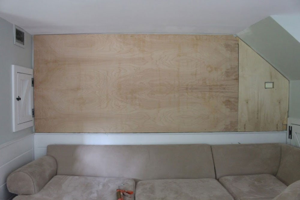 "1/4"" plywood backer on wall"