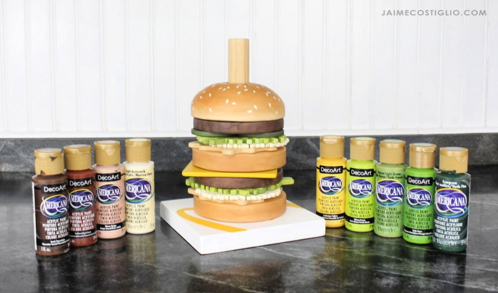 deco art acrylic paints for burger