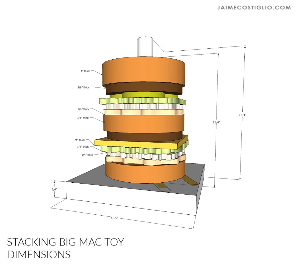 stacking burger dimensions