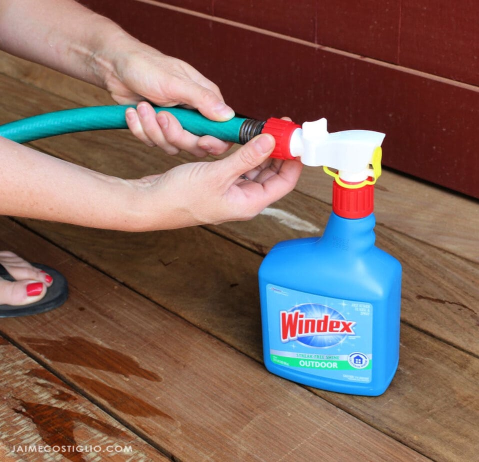 attaching hose to windex cleaner