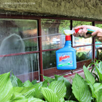 cleaning window with outdoor cleaner