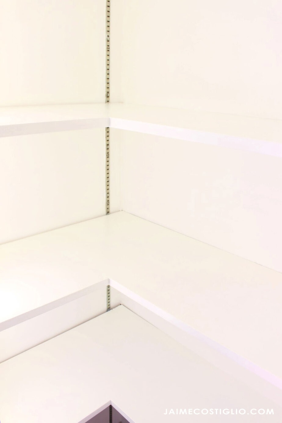 crisp bright white pantry shelves