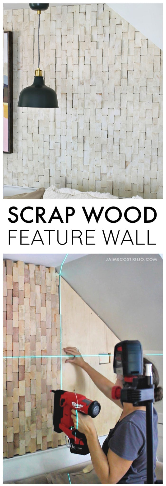diy scrap wood feature wall
