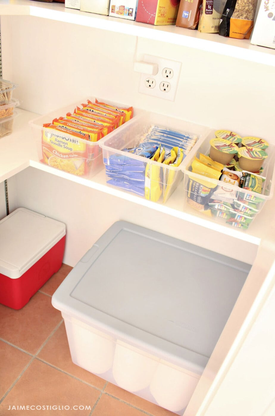 snack bins in pantry