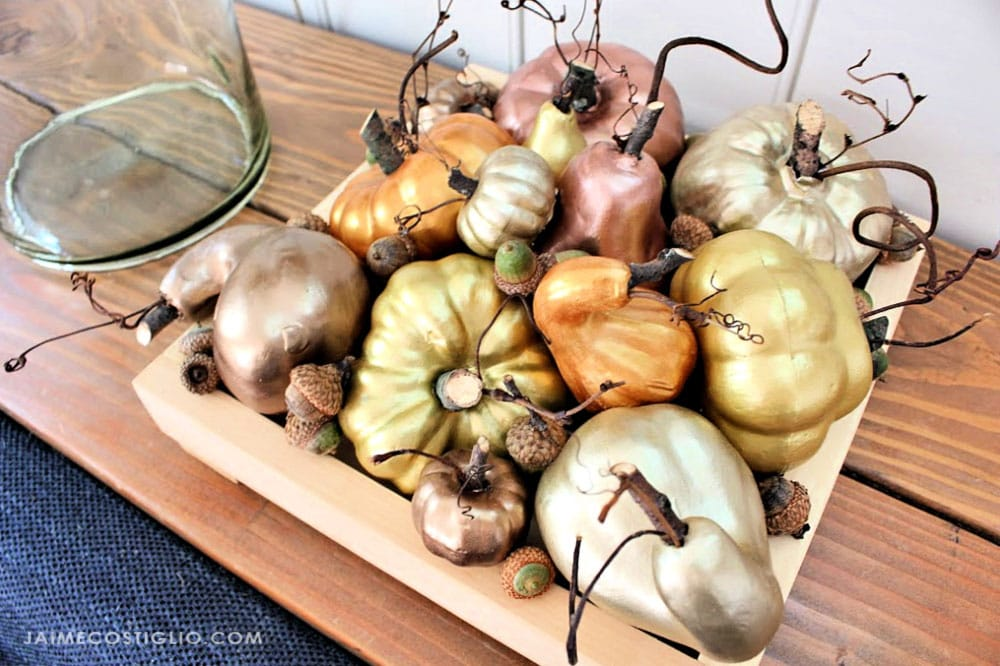 metallic gourds with wood stems