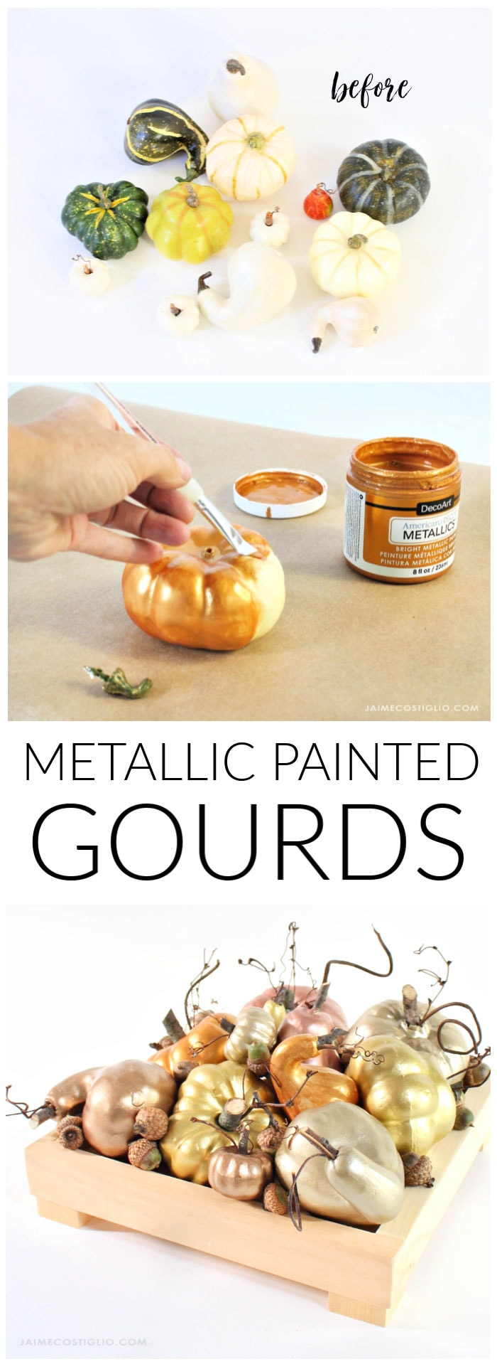 diy metallic paint gourds fall decor