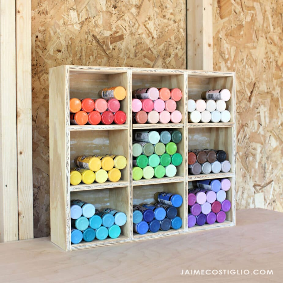 organized craft paints