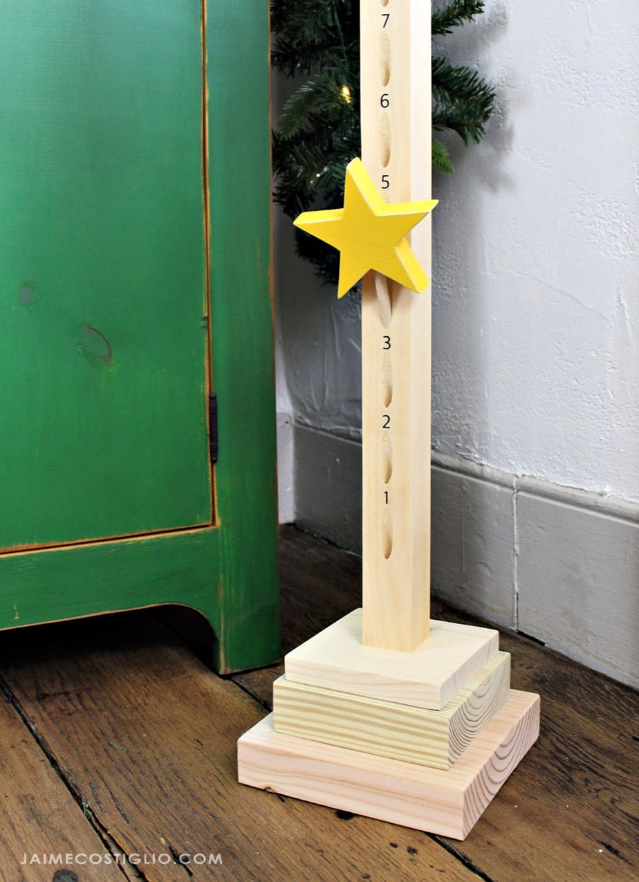 stacked wood base for advent calendar