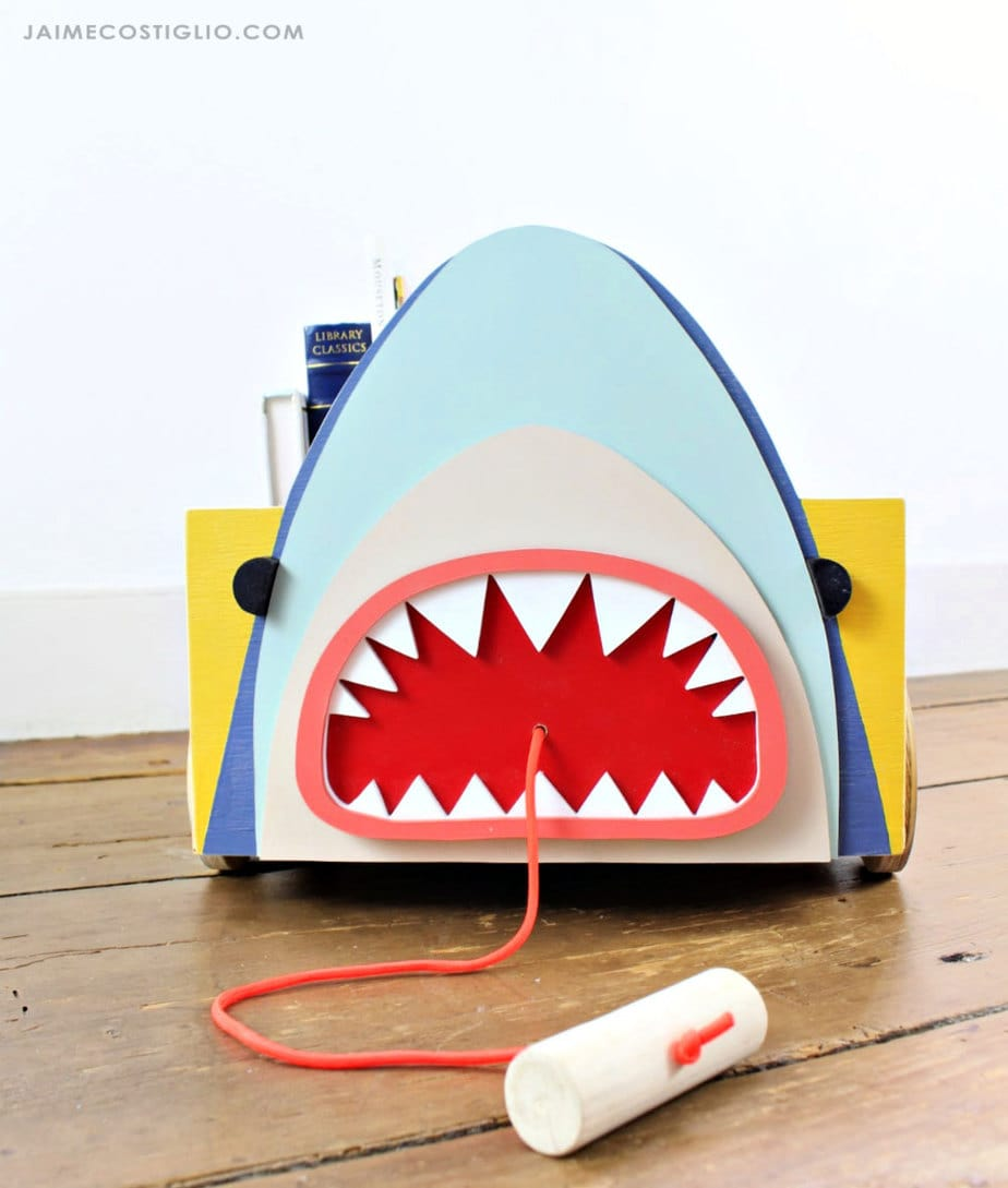 diy shark on wood cart
