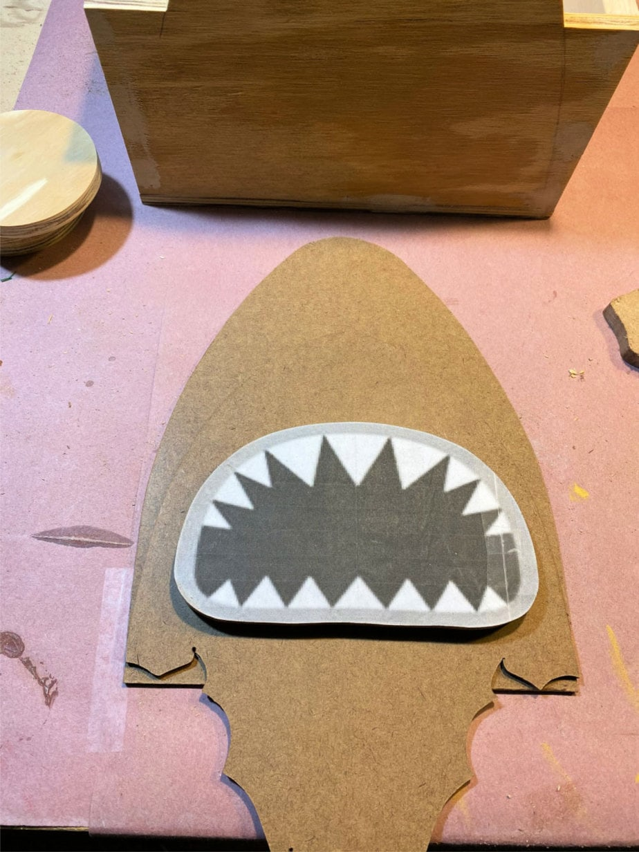 scrolled shark pieces and pattern