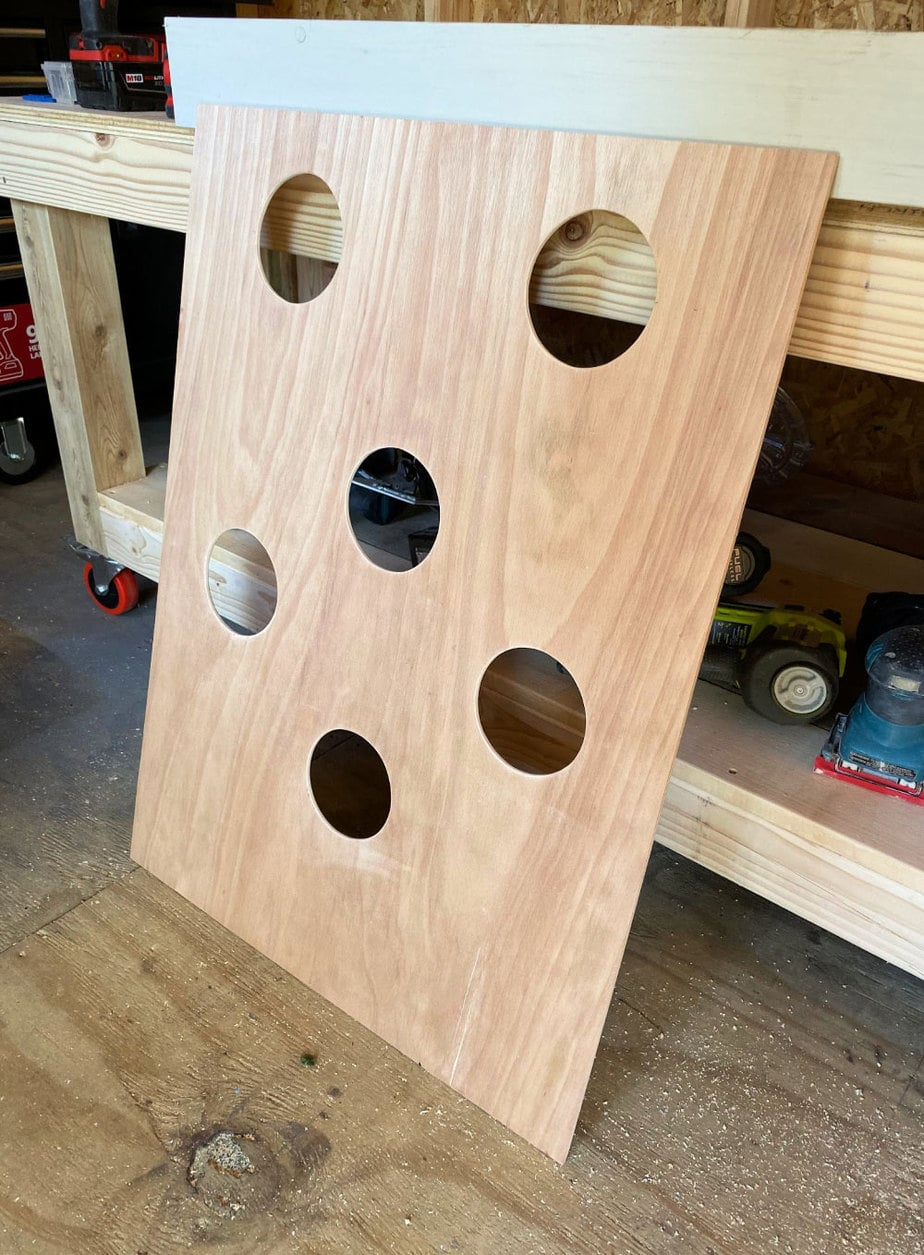holes in plywood for beanbags