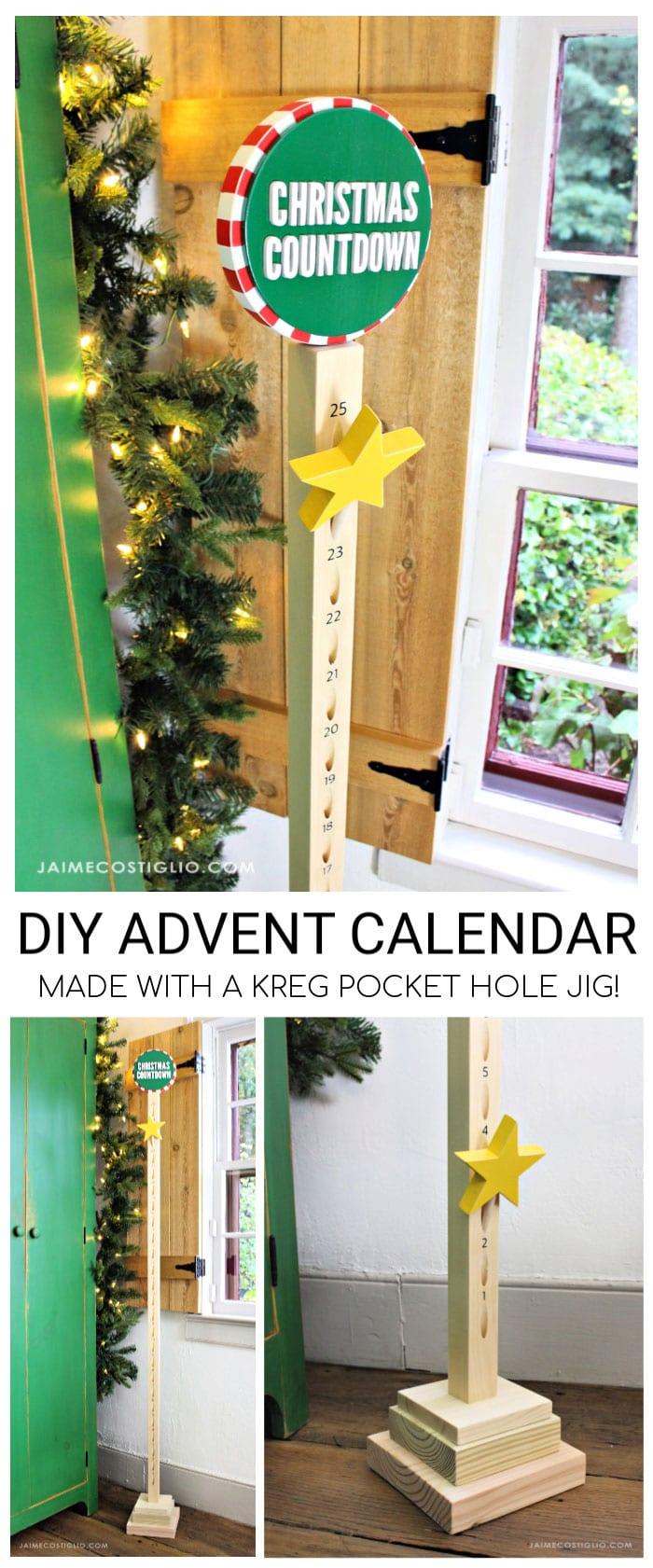 diy vertical advent calendar free plans