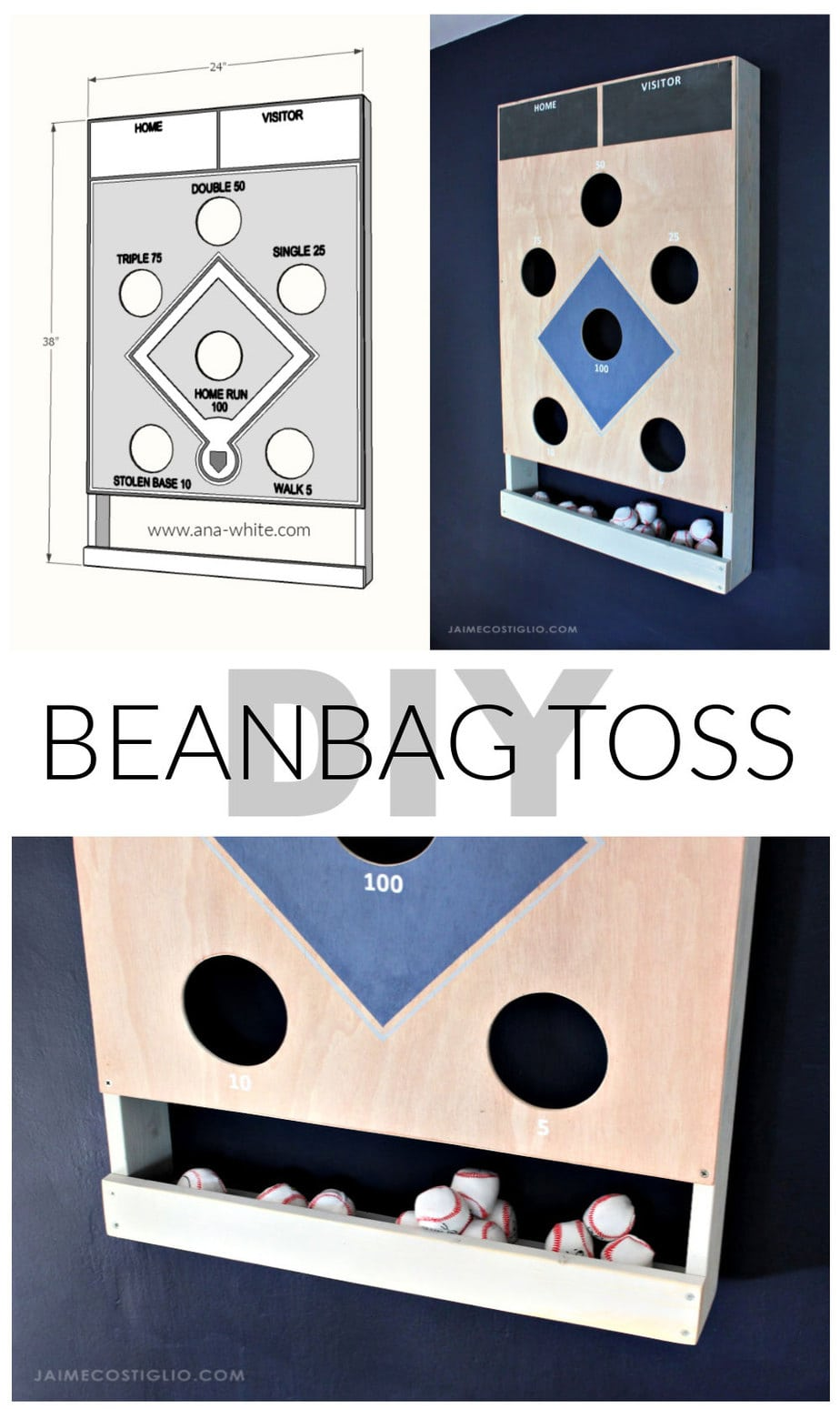 diy baseball beanbag toss game plans