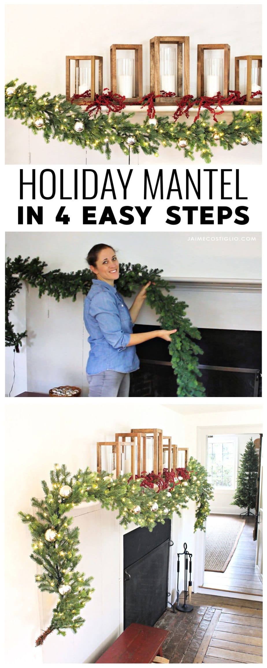 holiday mantel in 4 easy steps