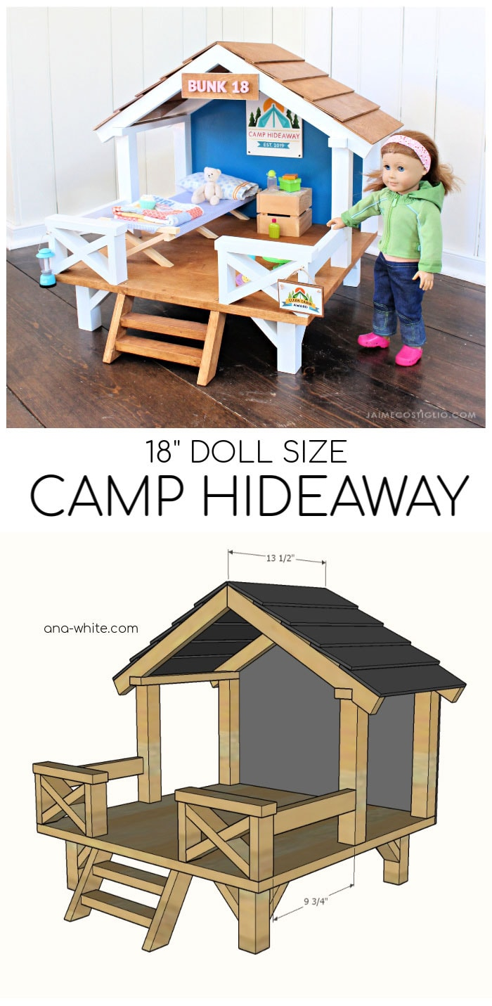 "18"" doll size handmade hideaway free plans"