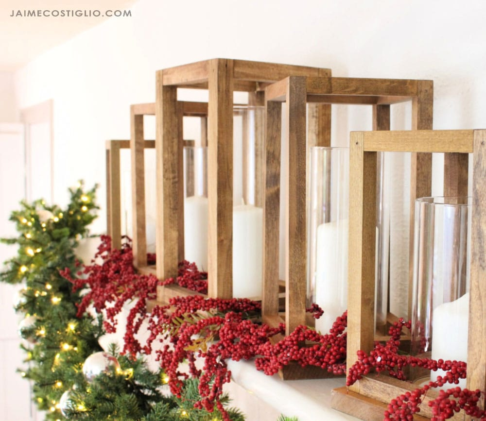 diy wood lanterns with candles