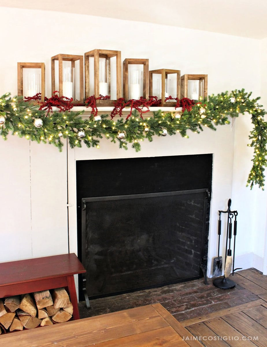 prelit garland on mantel