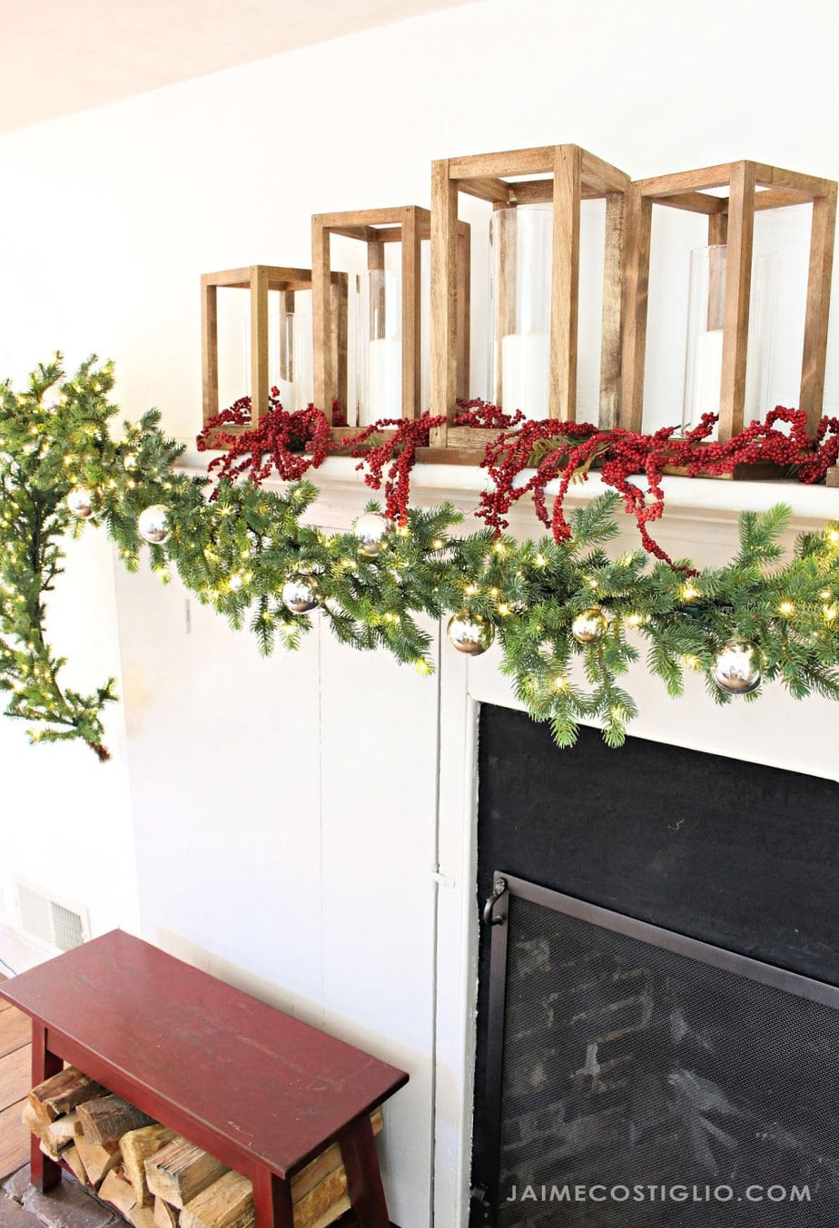 large garland on mantel