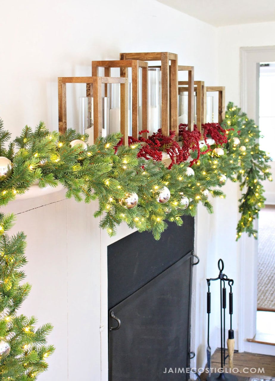 pre-lit garland on mantel