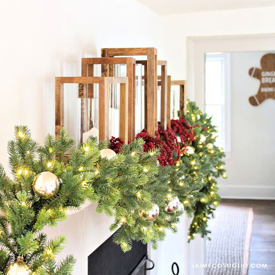 simple holiday mantel