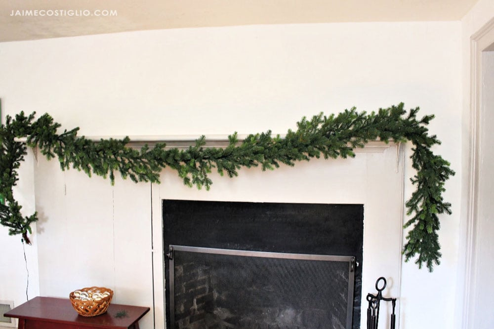 hanging garland on mantel