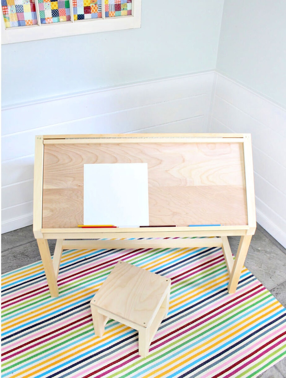 diy kids desk with stool