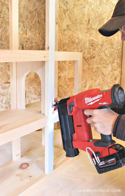 using brad nail on wood shelves