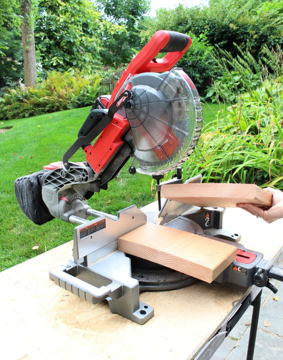 miter saw cutting thick material
