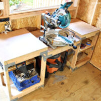 miter saw station in shed shop