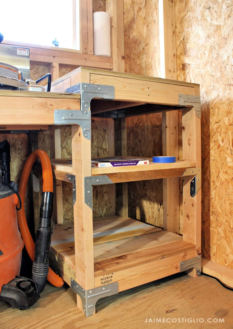 shelves under miter saw table