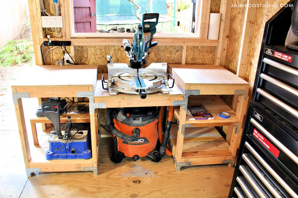 diy miter saw table with storage