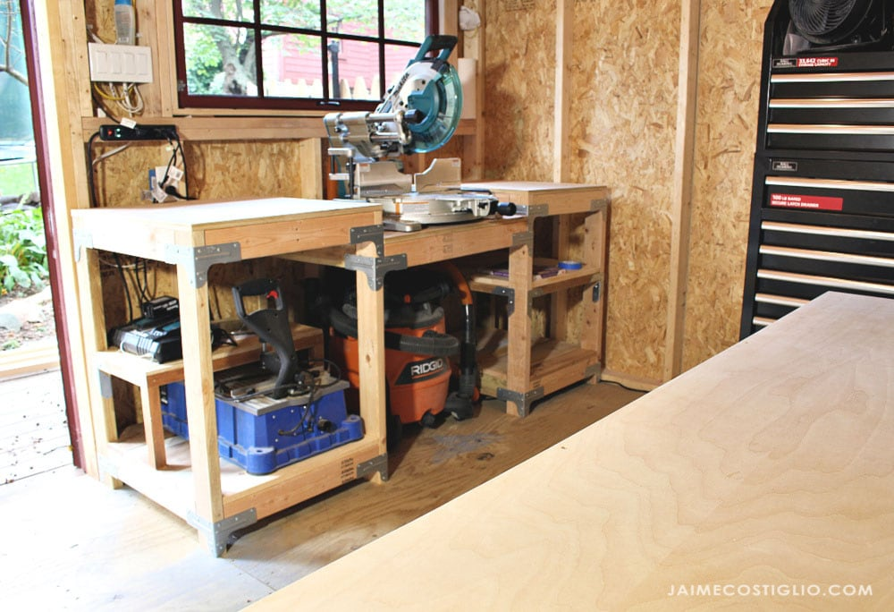 miter saw station in small workshop