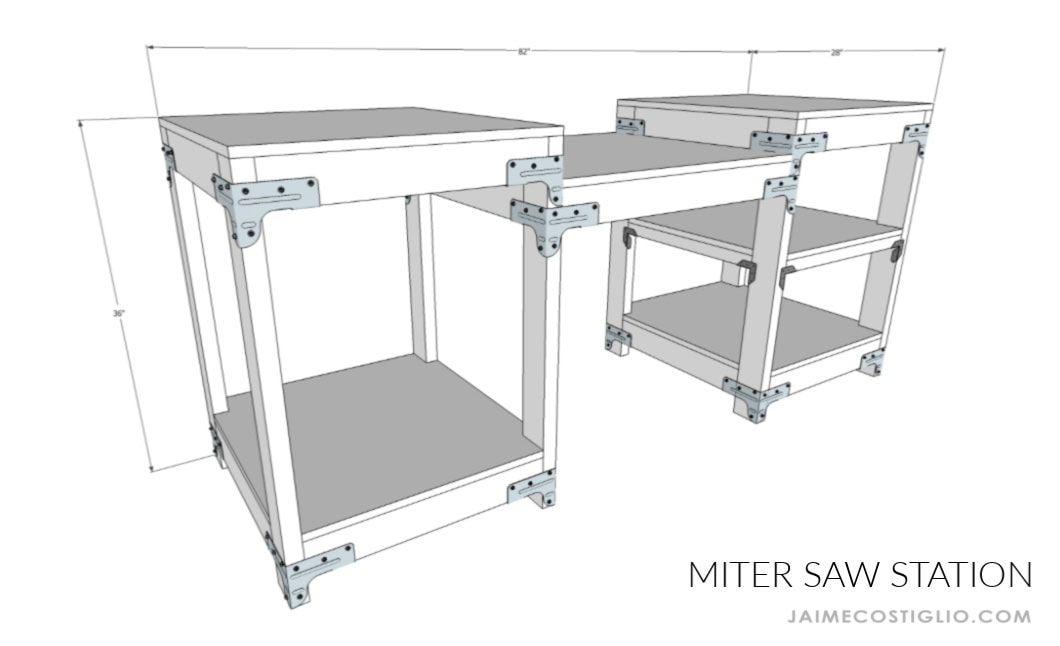 miter saw station dimensions
