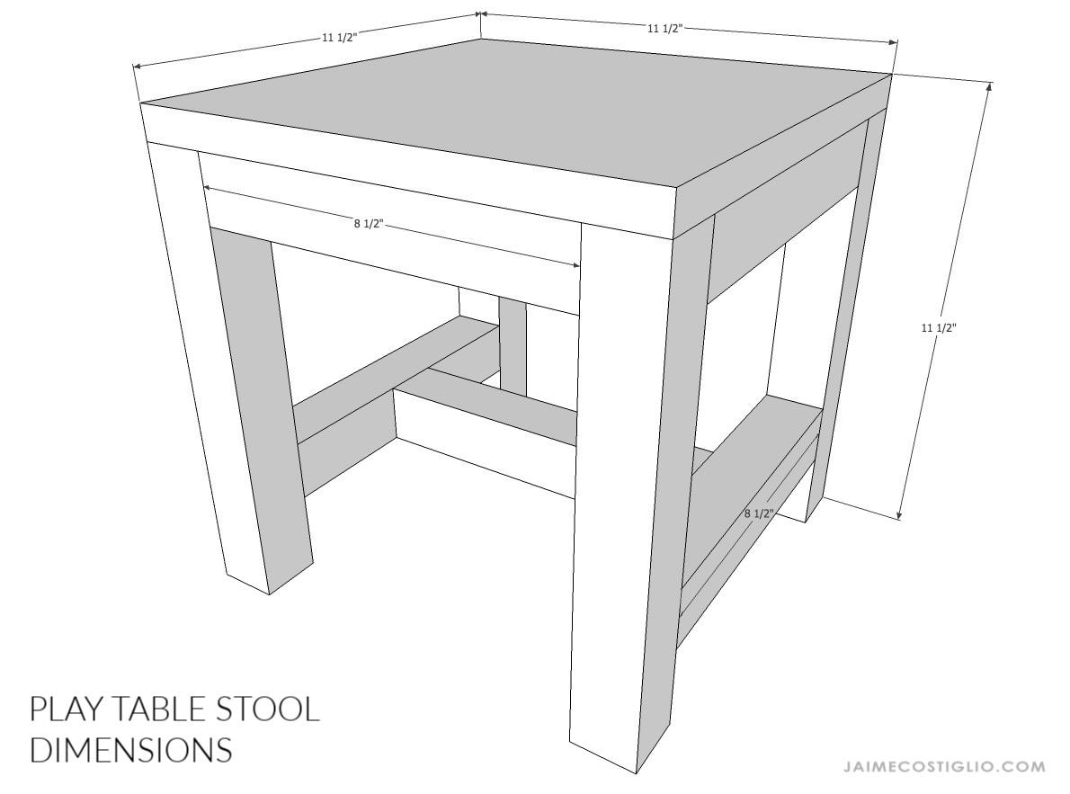 kids play table stool dimensions