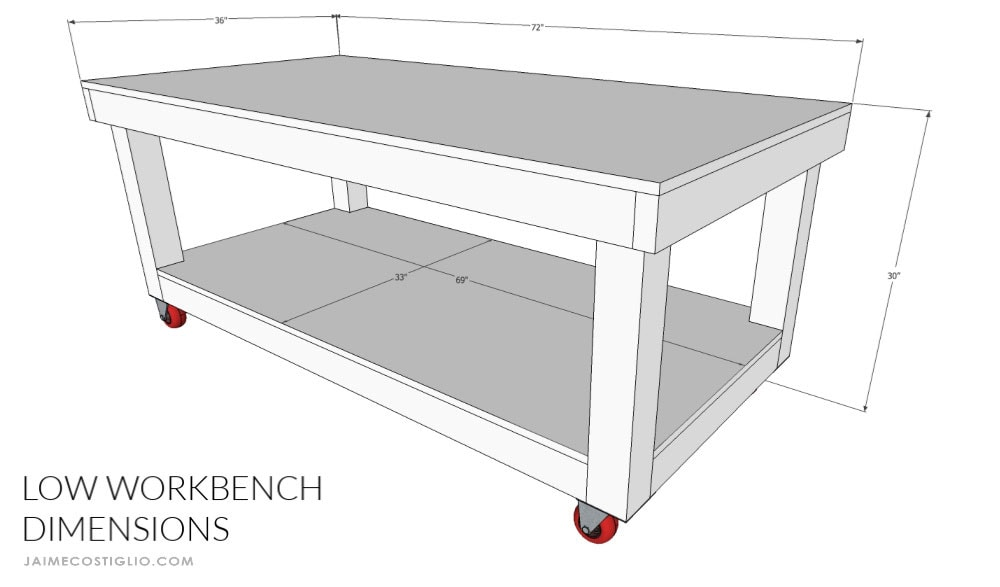low workbench dimensions