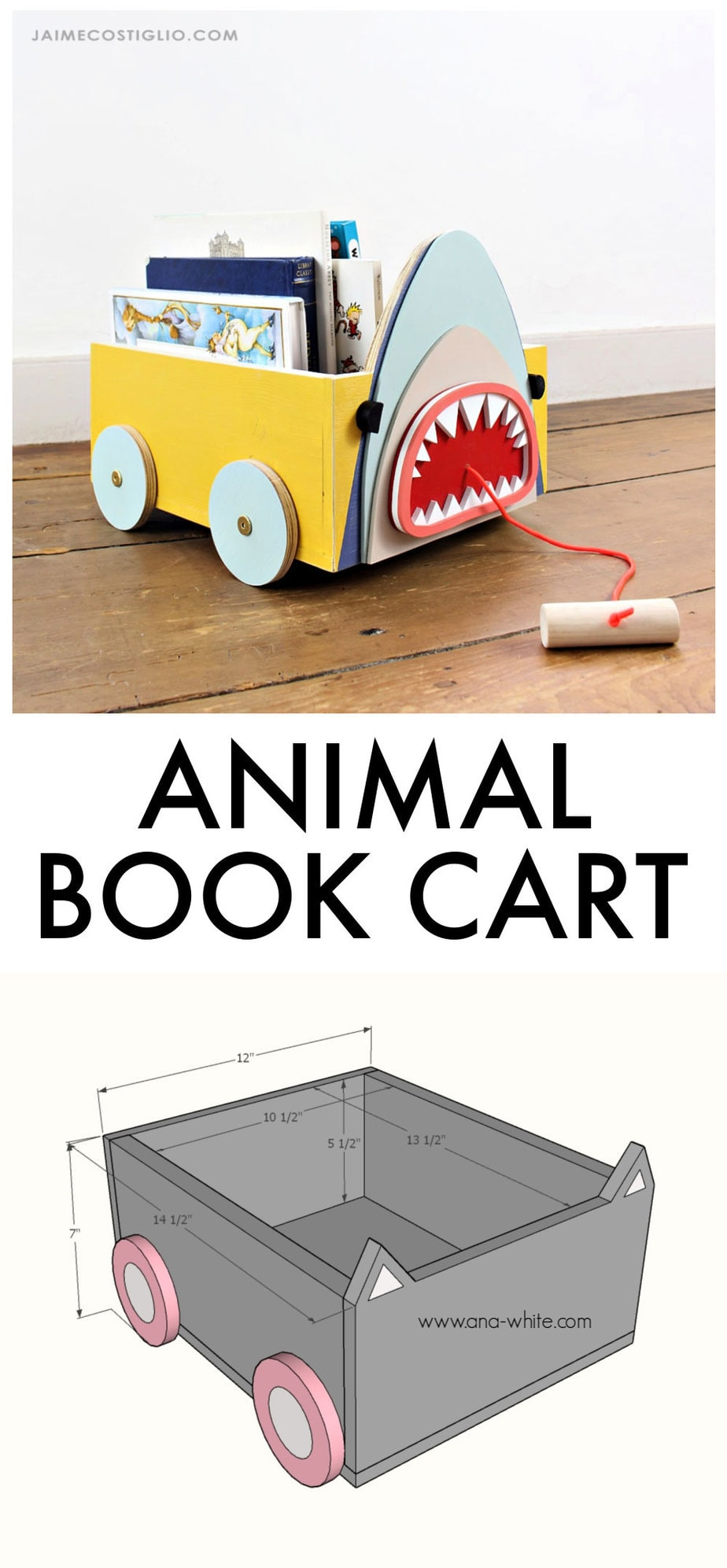 diy animal book cart free plans