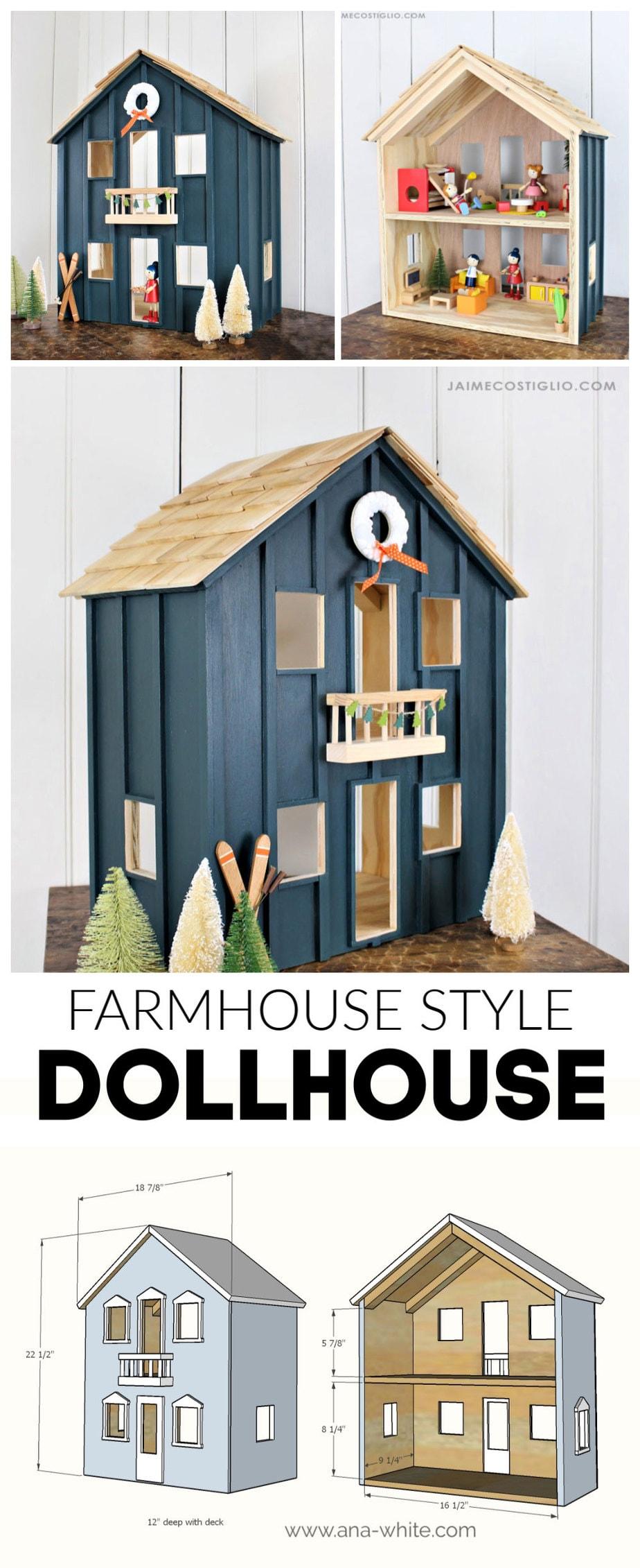 diy farmhouse style dollhouse free plans