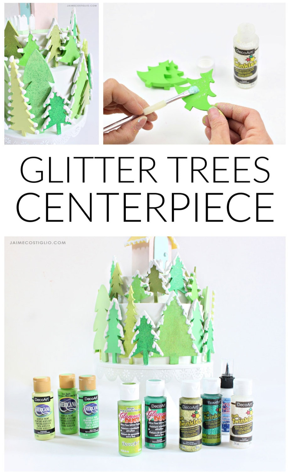 diy glitter trees winter centerpiece