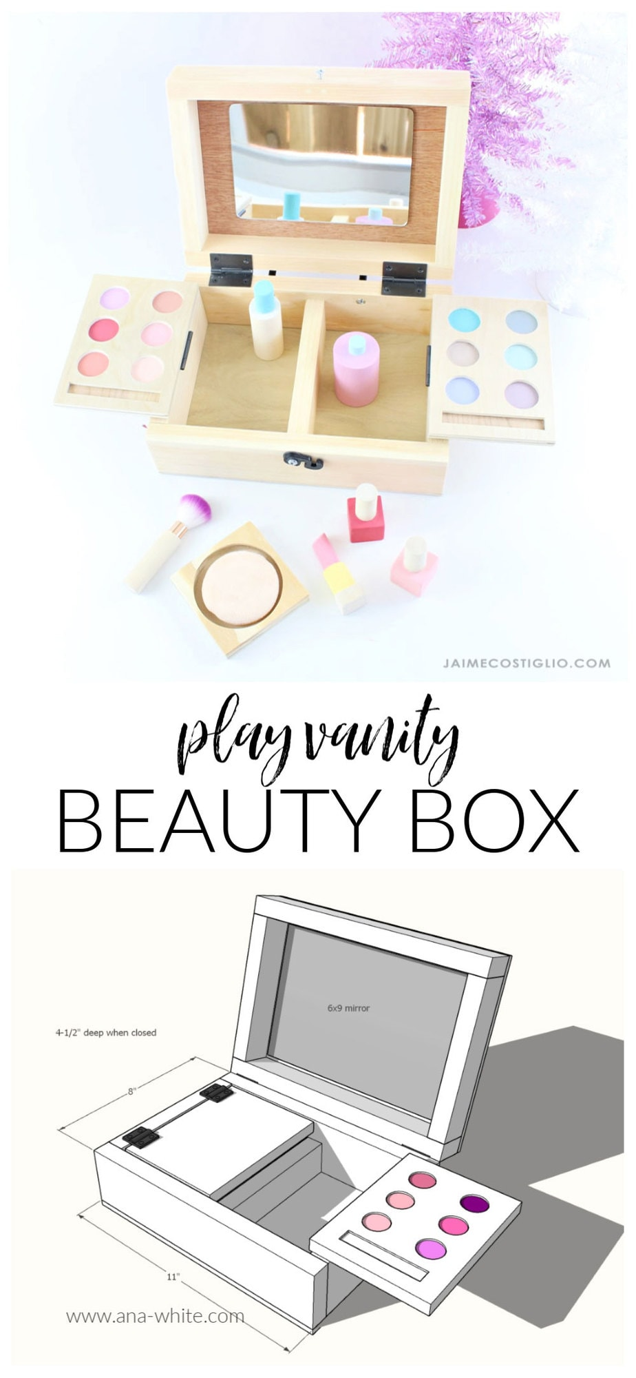 diy kids play vanity beauty box free plans